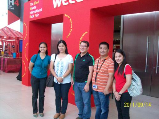 Library Committee members--Dr. Austria, Dr. Joaquico, Mr. Natividad, Ms Galang and Ms. Santos during MIBF week in 2011.