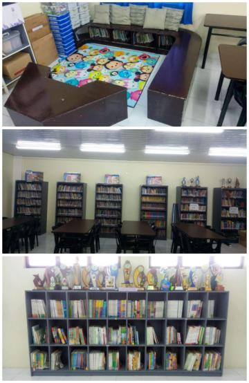 children's corner, scholastic, reference collection in Elem. Library