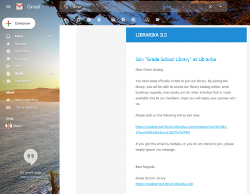 2. Check your email for LIbrarika ILS invitation to join link. Click the link.